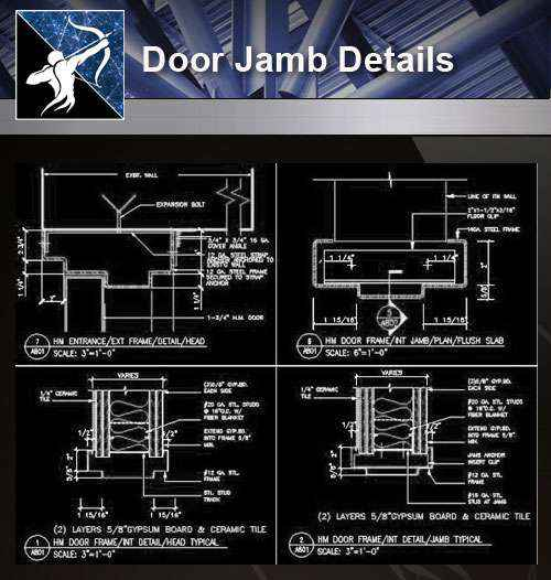【Architecture CAD Details Collections】Door Jamb CAD Details