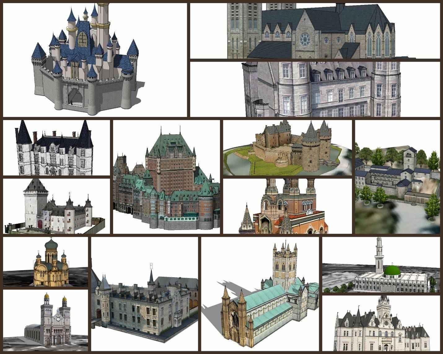 💎【Sketchup Architecture 3D Projects】15 Types of Castle Design Sketchup 3D Models V2